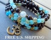 Safety, 108 Mala, wrap bracelet or necklace, ebony, Prayer beads, Yoga bracelet, 108 necklace, Reiki Charged,  Om mala, wrap bracelet
