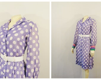 Vintage Dress 50s 60s Mad Men Style Midge Grand Polka Dot Dress Lavender White Pink Green Long Sleeve Dress 12 Modern Medium to Large