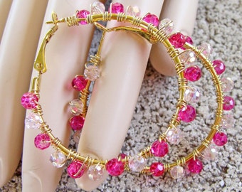 Light and Dark Pink Crystal Wire Wrapped Gold Hoop Earrings