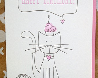 Birthday Card. Letterpress Birthday card for Cat Lady Friend, Sister, Wife, Best Friend, Cat lady. Card from cat. DeLuce Design