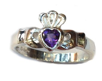 Silver Claddagh Ring - Set with a Gemstone Heart