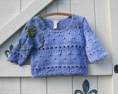 cropped sweater, Periwinkle Crochet sweater, periwinkle cropped sweater, XS-S, boho rustic tattered, upcycled,