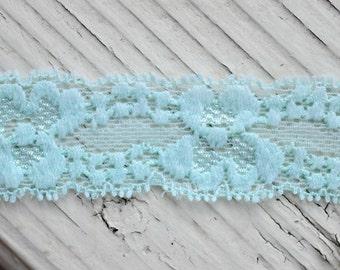 "Stretch Lace - AQUA  - 1"" Elastic Lace - Lace Trim - Elastic Lace by the Yard - 1"" Lace - 1 inch Elastic Lace Yardage - Skinny Lace"