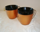 Vintage NFC Thermal Insulated Mugs, Copper and Black, Set of 2