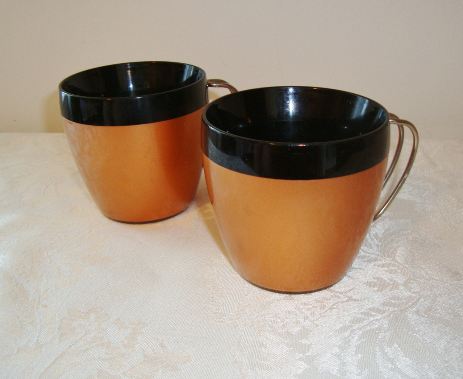 Vintage Nfc Thermal Insulated Mugs Copper And Black Set Of 2