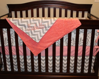 Coral, Chevron, and Damask Crib Bedding Ensemble