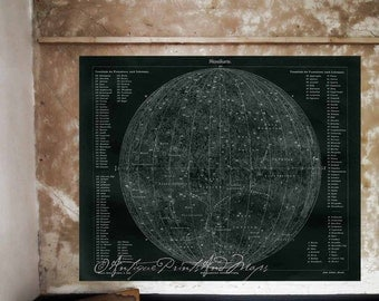Map of The Moon Poster Print Unique White On Black 16x20 to 24x32