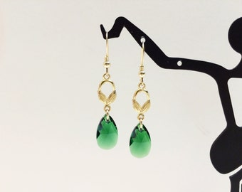 Green and Gold Dangle Earrings  - FREE SHIPPING
