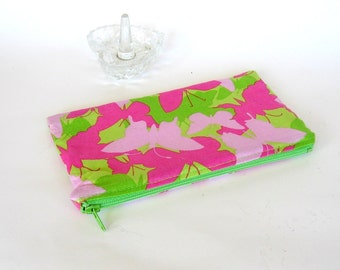 Fabric Cosmetic Bag in Butterfly Print SALE Pink and Green Makeup Bag Zippered Bag Cosmetic Pouch