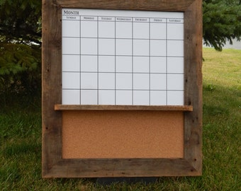CUSTOM MADE -- Barnwood Framed Message Center with Magnetic Dry Erase Calendar and Corkboard