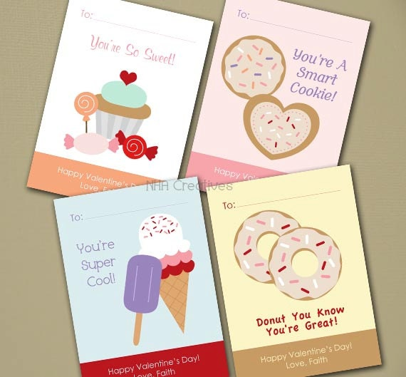 Personalized Sweet Valentine's Day Cards - Sweets, Cupcakes, Donut, Ice Cream -  Set of 4 - DIY Printable Digital File