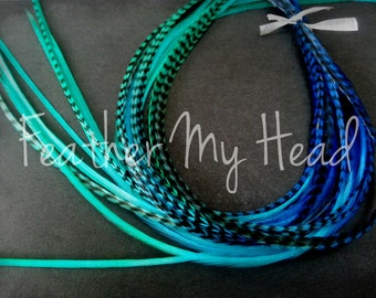 10 Feather Hair Extensions - Multi Color Rainbow Tye Dye - Medum Length 7-9 Inches (18-23cm) Tidal Wave Grizzly/Solid Mix - Blue Aqua