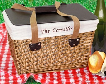 Embroidered Picnic Basket Personalized Tailgate Wedding Shower Gift