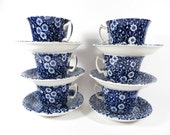 Set of 6 Blue Calico Tea Cups and Saucers - Burleigh Staffordshire China Tea Cups Saucers