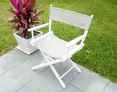 20% Off Sale - Vintage White and Gray Director's Chairs - Shabby Chic Decor - Six Available - Vintage Chairs