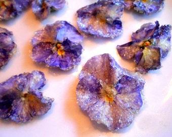 Candied Flowers, Edible Violas, Cupcake Toppers, Weddings, Purple, Lavender, Blue, Fresh Flowers, Crystallized Violas