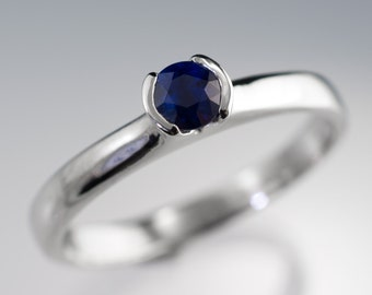Tulip Blue Sapphire Engagement Ring, Half Bezel Sapphire Ring in Palladium, Yellow Gold, White Gold or Platinum