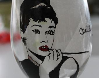 Audrey Hepburn hand painted glass breakfast at tiffanys