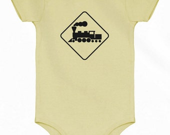 Baby Locomotive Romper - Railroad Crossing Infant One Piece - NB 6m 12m 18m 24m - Railway - 4 Colors