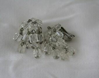 Vintage Clear Beaded Cha Cha Earrings