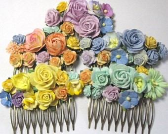 Set of five haircombs for bridesmaids flowergirls. Custom made