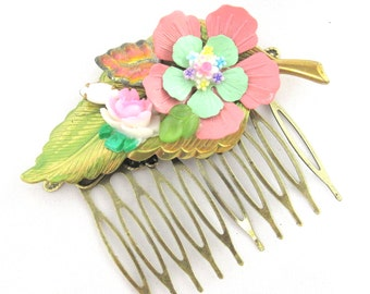 Pink and green Vintage Bridal HairComb- Collage Wedding Hairpiece-  Hair Accessory- Statement  fascinator