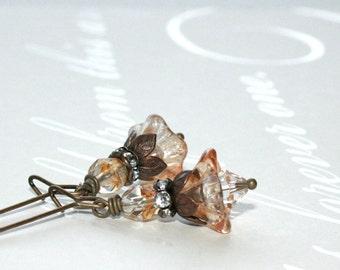 Glass flower earrings, Sweet Tea czech glass flower dangle earrings, Rustic jewelry
