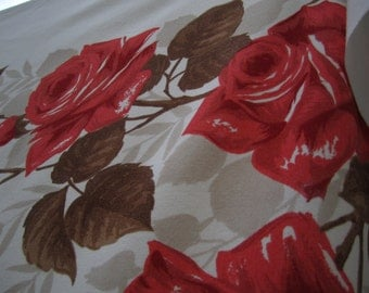 Vintage Coral Roses and brown Soft Challis Tablecloth Rectangular Tablecloth Autumn Roses