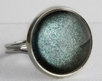 Stormy Days Ring in Silver - Grey Gray Shimmer Ring