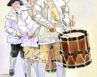 "Williamsburg Junior Fife and Drum Corp.  11x14"" Mat Size Giclee Print"
