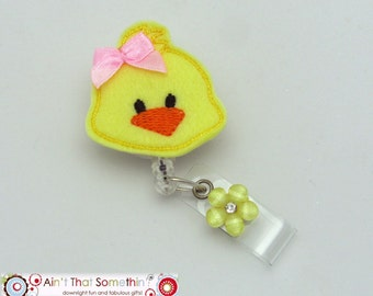 Easter Chick Retractable Badge Reel - Yellow Felt Chick Badge Clips - Cute Name Tag Holders - Fun ID Badge Pulls - Easter Gifts - ID Gifts