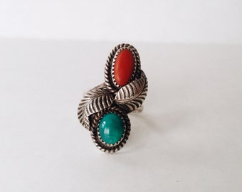 Native American Signed M. Chee Ring Silver Turquoise and Red Coral