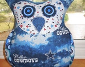 Dallas Texas Cowboys Body with Red, White, Blue Polka Dot Face Oliver Owl Pillow