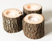 Tree Branch Candle Holders Set of 3 Short- Rustic Wood Candle Holders, Wooden Candle Holders, Wedding Centerpiece