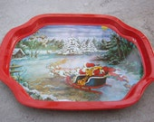 Santa and Sleigh Tin Snack Tray   Small Tin Tray