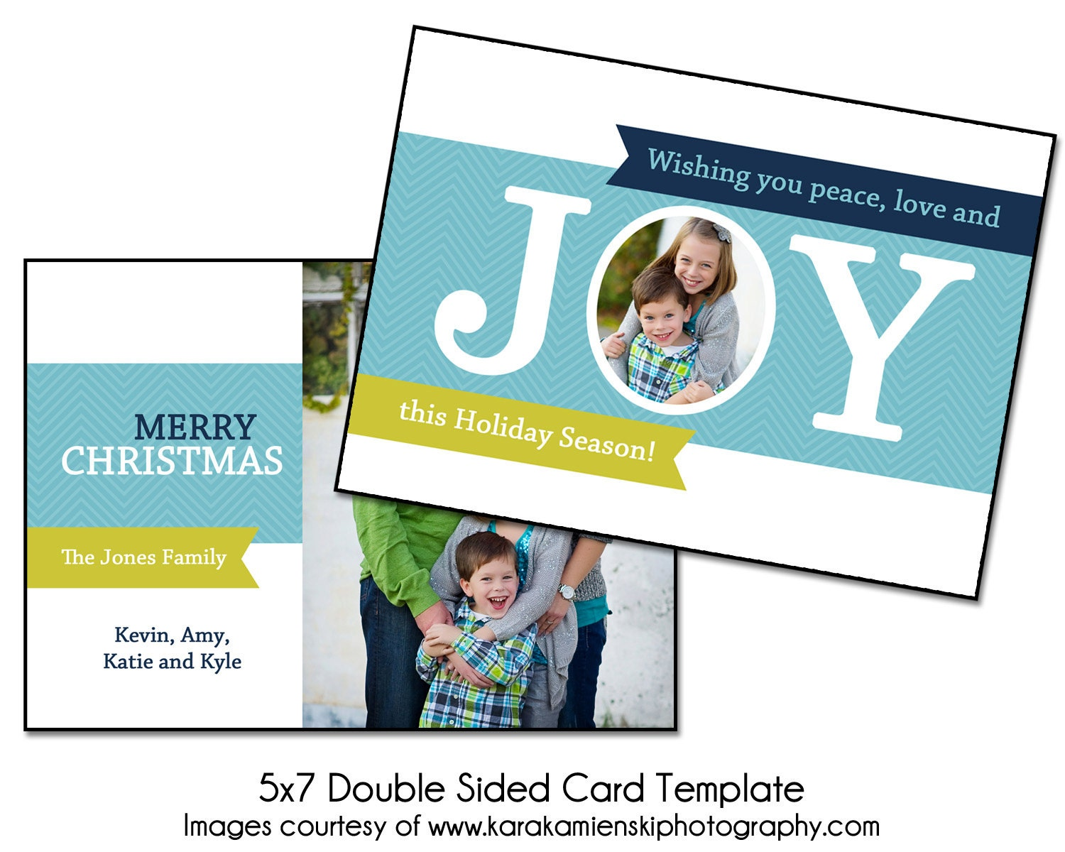 christmas card template joy 5x7 double sided card template. Black Bedroom Furniture Sets. Home Design Ideas