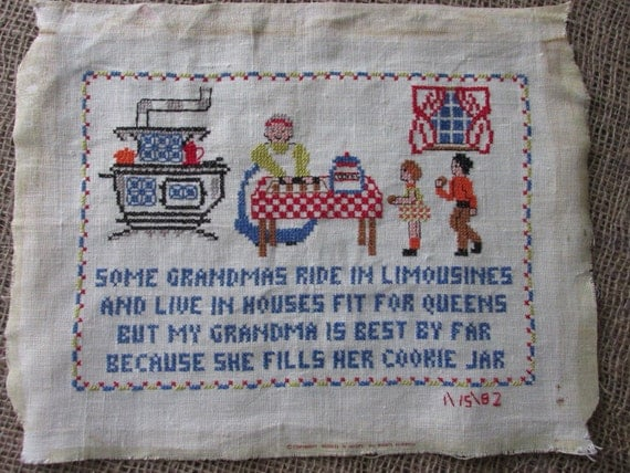 Vintage Sampler, Grandmas kitchen cross stitch Needle work Art, Shabby Chic sewing supplies, Framing Project, Pillow Making fabric supply 3A