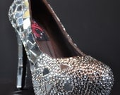 Mirror Glass Custom High Heel Clear Crystals with Spiked back