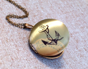 Nautical Anchor Brass Art Locket Necklace, Round Sailor Locket