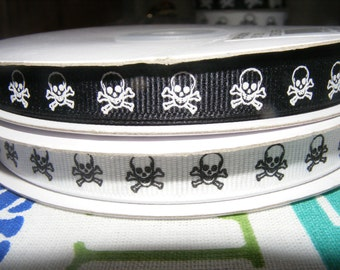5 yards 3/8 skull grosgrain ribbon for hair bows, scrapbooking, arts, crafts, sock decorating