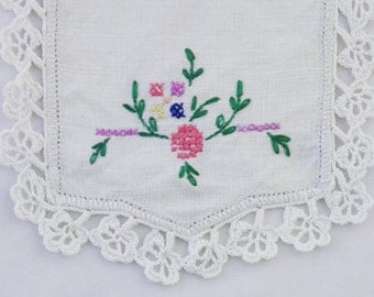 Unique vintage chair arm cover with hand embroidery, perfect for country decor
