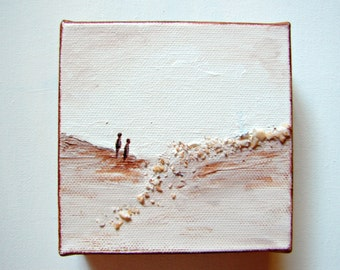 "Geode Crystal Mixed Media Art--Sand, White, Brown--""Sand People""-River of Crystals, Home Decor, Office Decor, Cubicle Art"