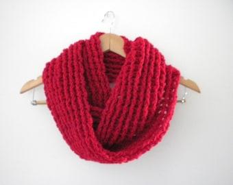 Crochet Scarf Red  Infinity Crochet Chunky Thick Neckwarmer