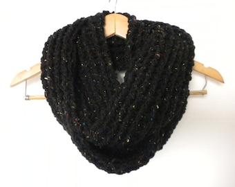 Crochet Scarf Black with Colored Pecks  Infinity Crochet Chunky Thick Neckwarmer