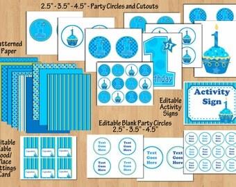 Sweet Cupcake 1st birthday party package Boy 1st birthday boy birthday party Blue Green boy birthday invitation printable WORD PDF File DIY