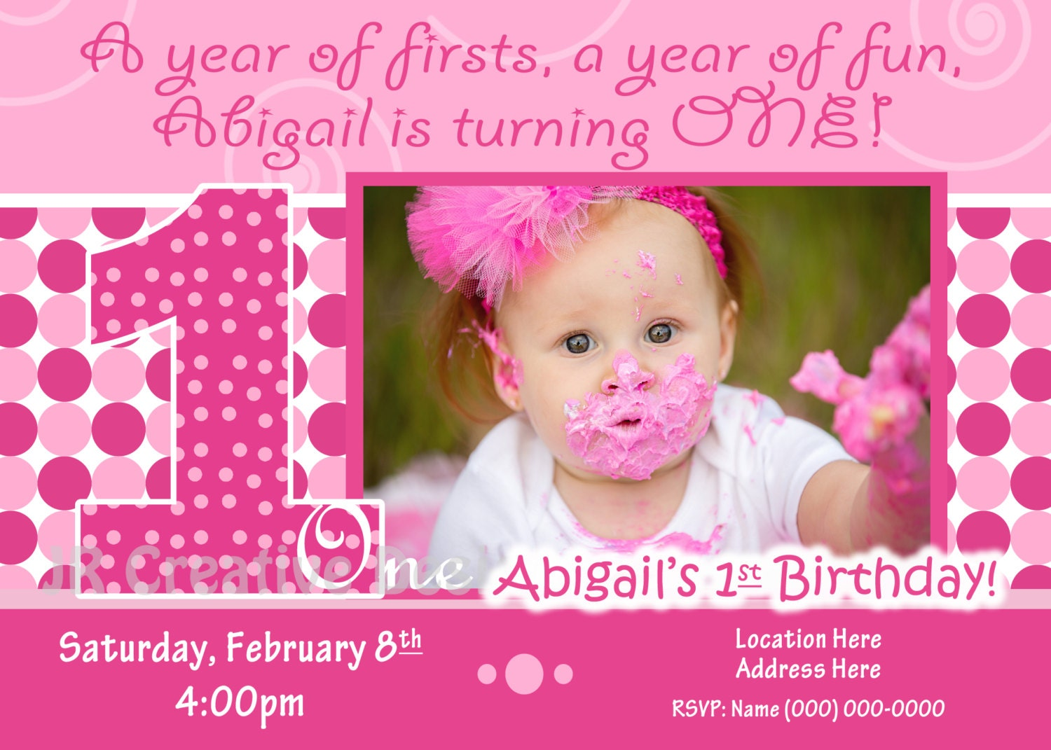 1st birthday Girl invite 1st Birthday Girl invitation – Birthday Invitation Design for 1st Birthday