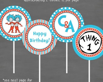 Dr. Seuss Thing 1 Thing 2 Birthday Cupcake Toppers--Custom Printable