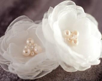 Bridal flowers, Bridal flower Clip, Wedding Head Piece, Bridal Flower Fascinator, White Organza Flower clip-Eugenia
