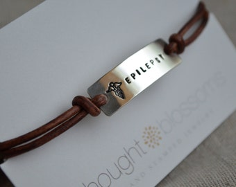 Simple Sterling Medical Alert Bracelet -  Custom - Personalized - Hand Stamped - Leather