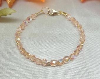 Girls Pink Crystal Bracelet Pink Bracelet Toddler Bracelet Baby Bracelet Adjustable Bracelet 14k Gold Filled Bracelet BuyAny3+Get1 Free